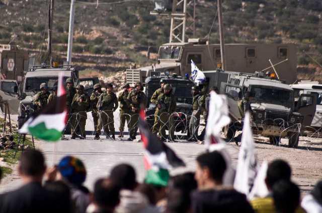 Palestinian and international demonstrators approach an Israeli army blockade in Al Ma'sara village, West Bank (January 29th 2010)